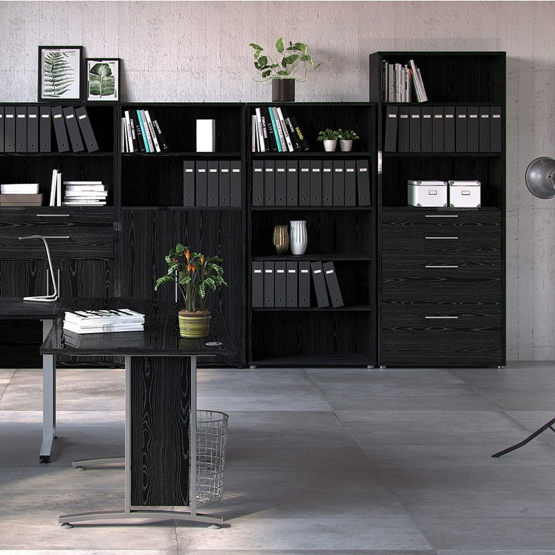 Prima Bookcase 5 Shelves with 2 Drawers + 2 File Drawers in Black woodgrain