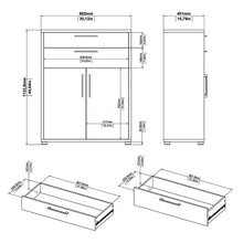 Load image into Gallery viewer, Prima Bookcase 2 Shelves with 2 Drawers and 2 Doors in White