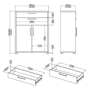 Prima Bookcase 2 Shelves with 2 Drawers and 2 Doors in White
