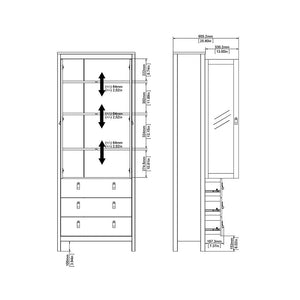 Madrid China cabinet 2 doors w-glass + 3 drawers in White