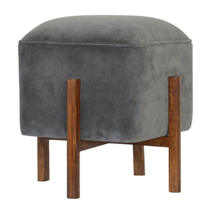 Grey Velvet Footstool with Solid Wood Legs