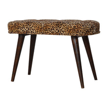 Load image into Gallery viewer, Leopard Print Cotton Velvet Deep Button Bench