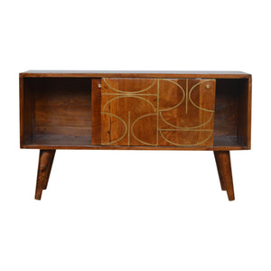 Chestnut Gold Inlay Abstract Sideboard