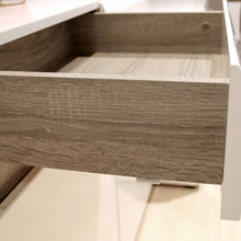Load image into Gallery viewer, Chelsea Bedroom 2 drawer bedside in white with an Truffle Oak Trim