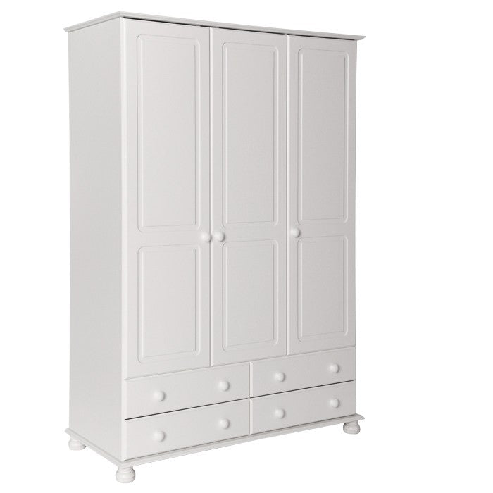 Copenhagen 3 Door 4 Drawer Wardrobe in White