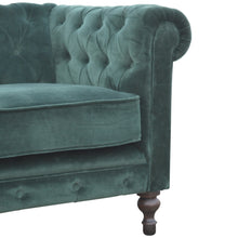 Load image into Gallery viewer, Emerald Green Velvet 2 Seater Chesterfield Sofa