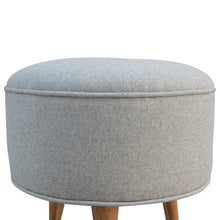 Load image into Gallery viewer, Round Grey Tweed Footstool