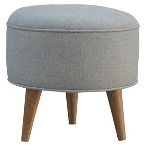 Round Grey Tweed Footstool