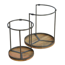 Load image into Gallery viewer, Round Stool Set of 2 with Iron Base