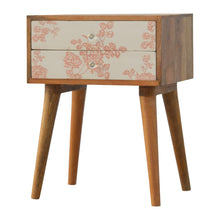 Load image into Gallery viewer, Pink Floral Screen Printed Bedside