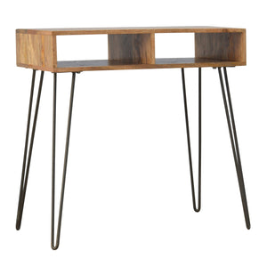 Solid Wood & Iron Base Writing Desk with Stool