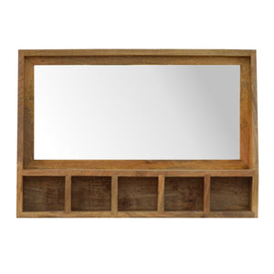 Solid Wood 5 Slot Wall Mounted Unit with Mirror