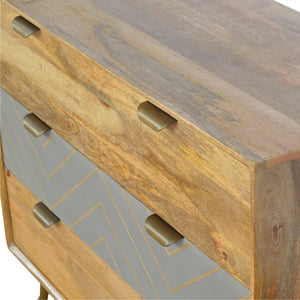 Sleek Cement Brass Inlay Chest
