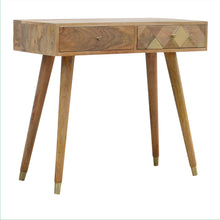 Load image into Gallery viewer, Oak-ish Gold Brass Inlay Console Table