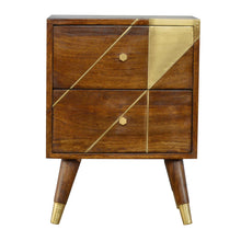 Load image into Gallery viewer, Gold Geometric Chestnut Bedside