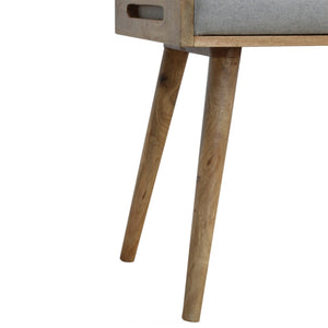 Grey Tweed Solid Wood Footstool