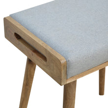 Load image into Gallery viewer, Grey Tweed Solid Wood Footstool