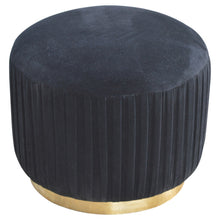 Load image into Gallery viewer, Black Cotton Velvet Pleated Footstool with Gold Base
