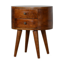 Load image into Gallery viewer, Chestnut Rounded Bedside Table