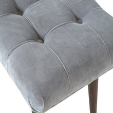 Load image into Gallery viewer, Grey Cotton Velvet Curved Bench