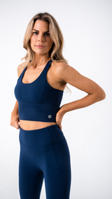 ADAPT LONGLINE NAVY SPORTS BRA
