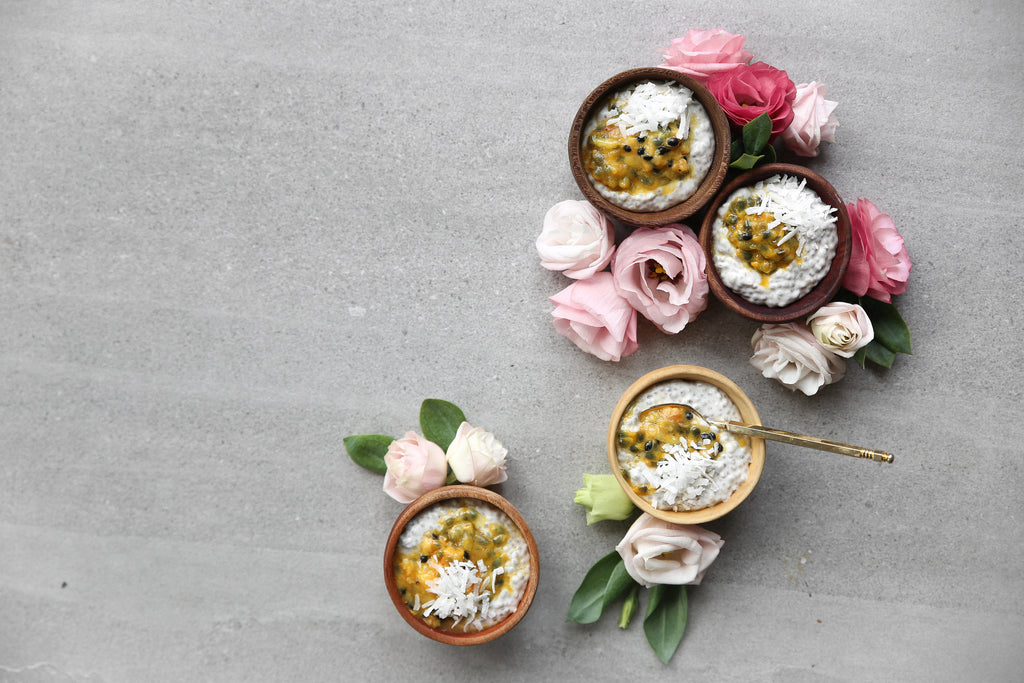 COCONUT CHIA PUDDING WITH PASSIONFRUIT