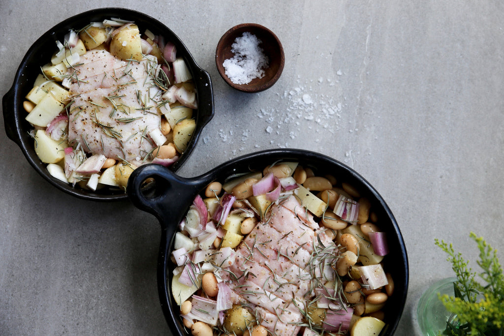 SLOW ROASTED PORK BELLY WITH BUTTER BEANS, SHALLOTS AND ROSEMARY