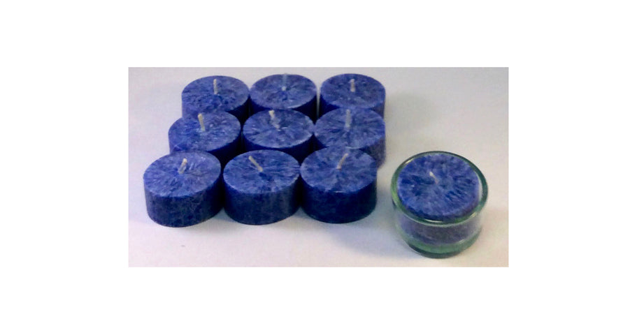 10x Dark Blue,Eco Palmwax, Tealights incl glass