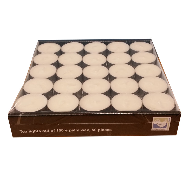 White Eco Palmwax Tealights, Pack of 50