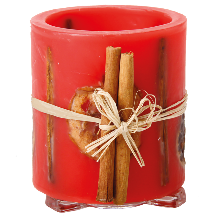 Hurricane Candle - Apple, Orange & Cinnamon, Red