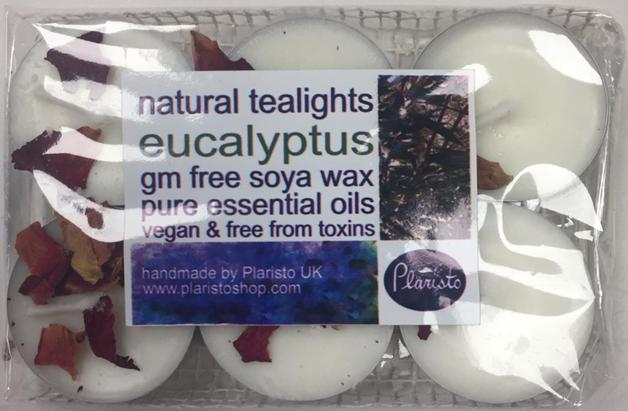 Plaristo Eucalyptus-scented tealights, 4 Hour Burn-time, Pack of 6