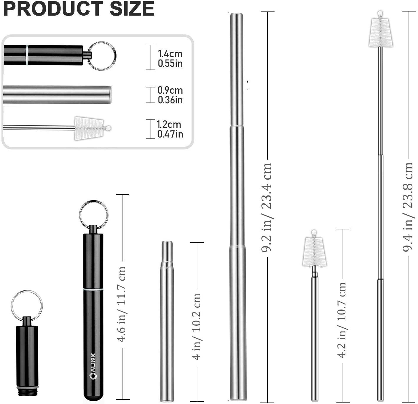Portable Telescopic Stainless Steel Foldable Straw