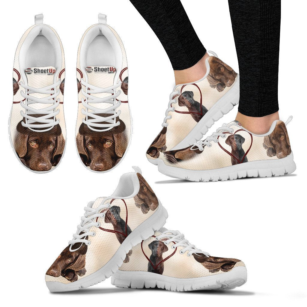 Cute Chocolate Labrador Print Running Shoes for Women