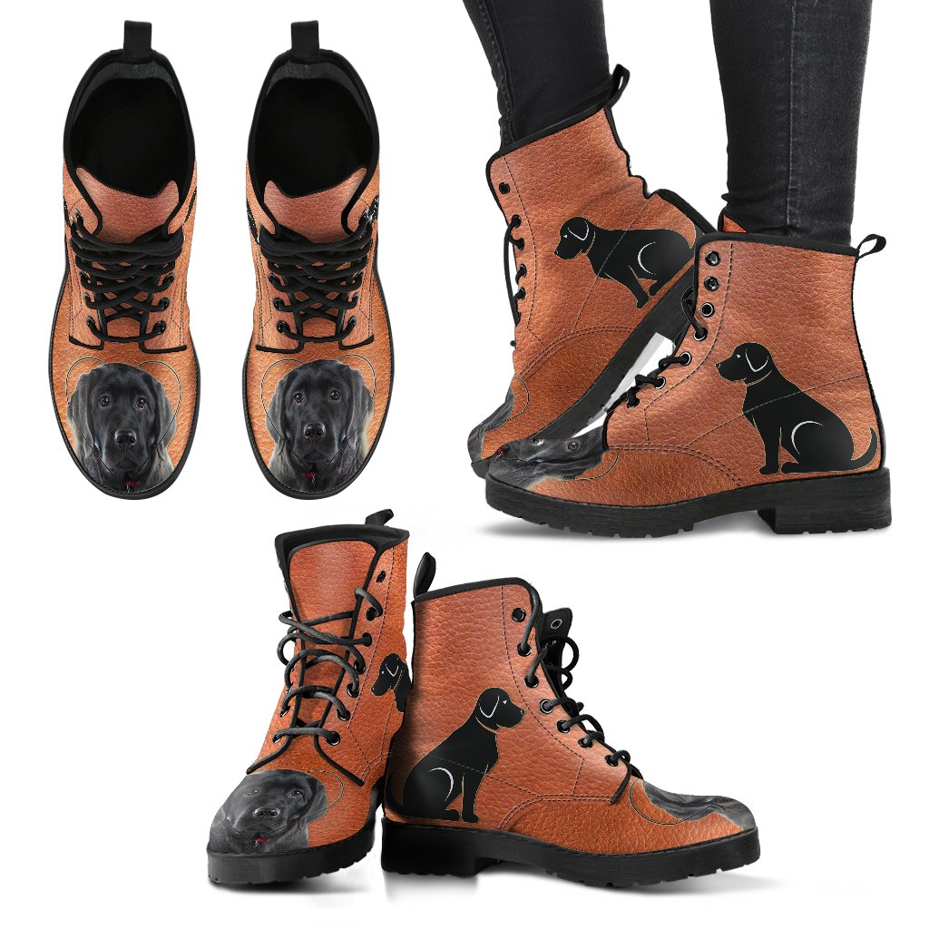 Valentine's Day Special Black Labrador Print Boots for Women