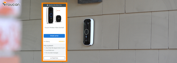 Best Ultra Wide View Pick by Safety.com - Toucan Wireless Video Doorbell