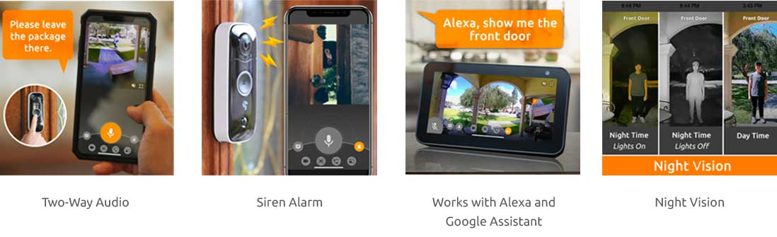 Toucan Wireless Video Doorbell features on the Toucan App