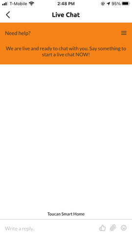 Toucan Smart Home App - Live Chat