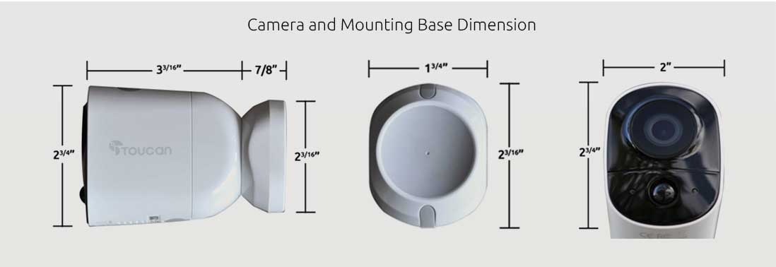 toucan wireless security cameras dimensions