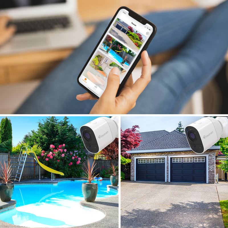 Wireless Outdoor Cameras View on the Toucan Smart Home app