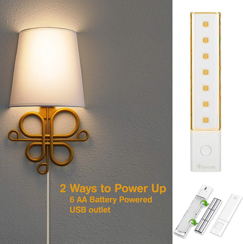 Gold Sconce Light Wireless or Wired