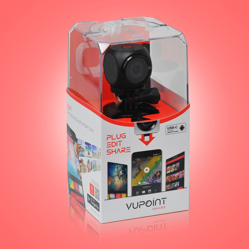 VuPoint Share Q Action Camera Packaging