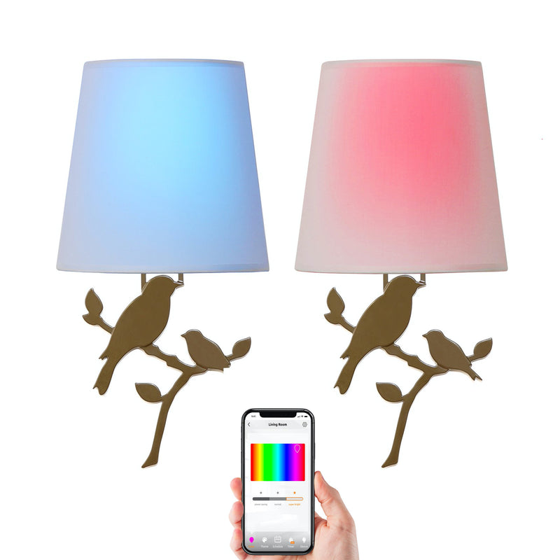 Toucan Smart Wireless Wall Sconce Light (2-Pack), RGB Light