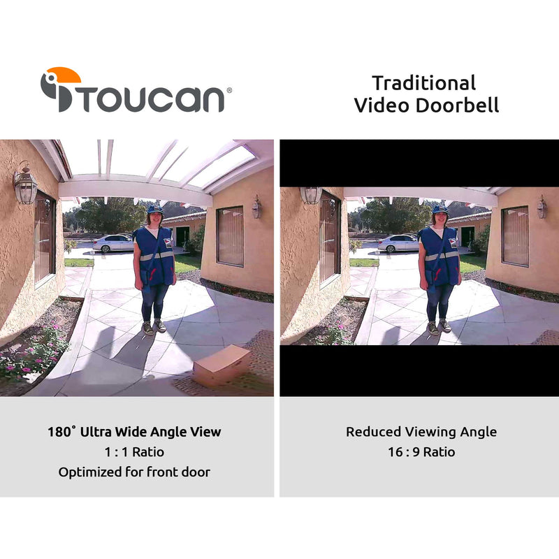 Wireless Video Doorbell 180 degree field of view