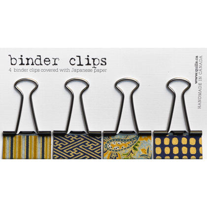 set of 4 medium blue & gold binder clips