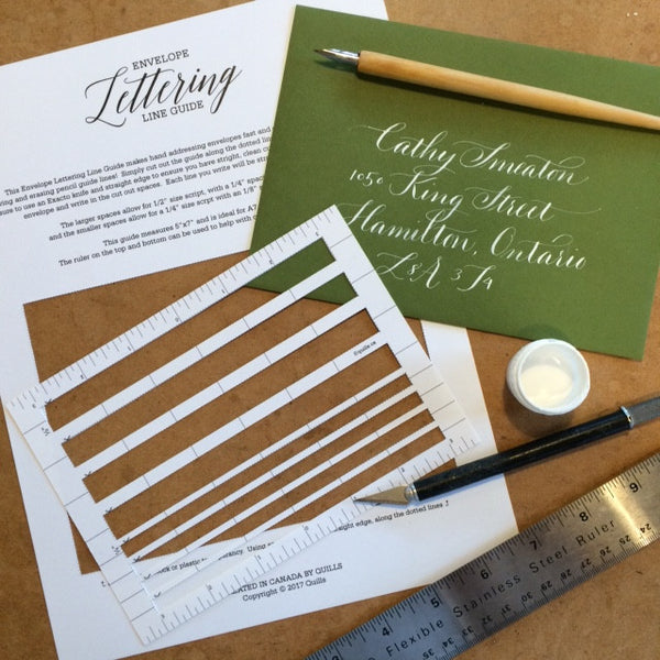 Free Envelope Lettering Line Guide - Quills