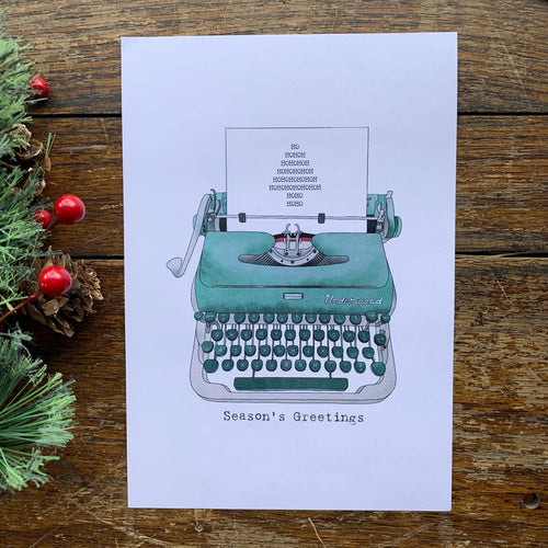 Set of 8 cards Typewriter Seasons Greetings