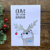 Set if 8 cards Olive the otter reindeer