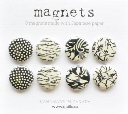 set of 8 black & white magnets