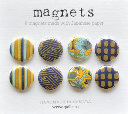 set of 8 blue & gold magnets