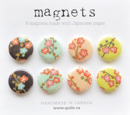 set of 8 cherry blossom magnets